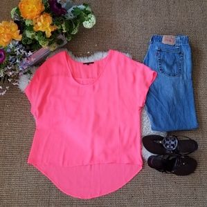 🔥Neon pink/orange high-low top summer blouse